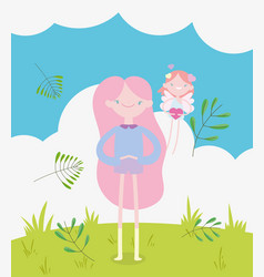 happy valentines day cute girl and little cupid vector image