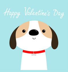 happy valentines day dog face head red collar vector image