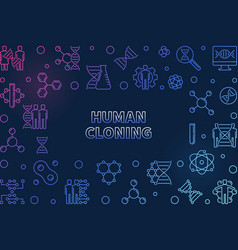 Human cloning colorful outline horizontal vector
