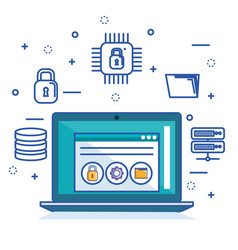 internet security laptop server and storage safety vector image