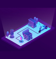 isometric city navigation technology for vector image