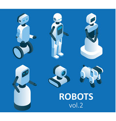 isometric modern robotics icon set vector image