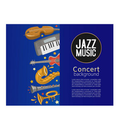 Jazz music concert poster and jazz music party or vector