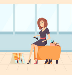 Lady wearing new high heels purchasing vector