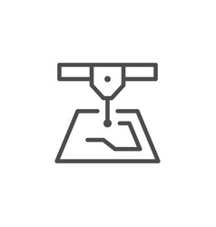 Laser cutting line icon vector