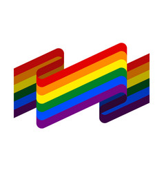 lgbt flag ribbon isolated rainbow tape banner vector image