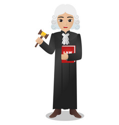 Male judge holding red book of law vector