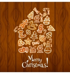 Merry Christmas poster of gingerbread cookie house vector