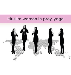 Muslim woman silhouette in pray pose vector image
