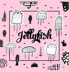 nautical design with jellyfish in childish style vector image