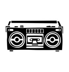 Old school cassette player cartoon hand drawn vector
