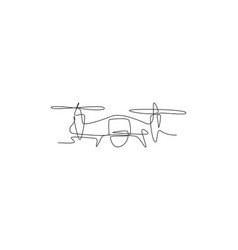 One continuous line drawing flying drone vector