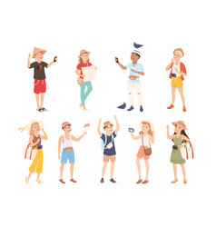 people tourists sightseeing and photographing set vector image