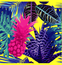 pink pineapple and blue exotic plants seamless vector image