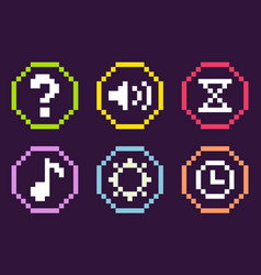 Pixel icons game sound and note time clock vector