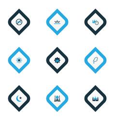 ramadan icons colored set with masjid fajr no vector image