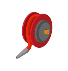 Red fire hose winder roll reels cartoon icon vector image
