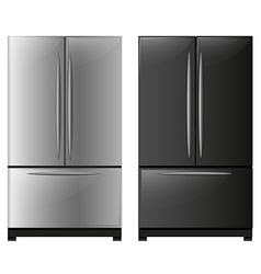 Refrigerator with black and white doors vector image