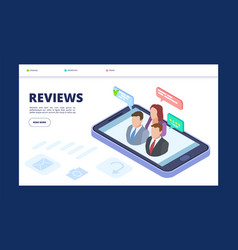 reviews web banner template feedback landing page vector image