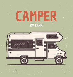 Rv camper van or caravan bus vector