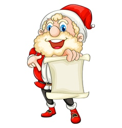 Santa holding a paper scroll vector