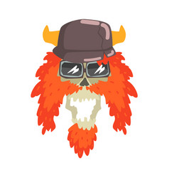 Scull in horned helmet with red beard colorful vector
