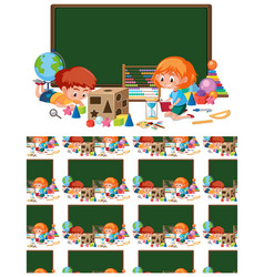seamless background design with kids in classroom vector image