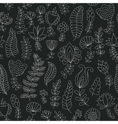 Seamless black and white doodle flowers pattern vector