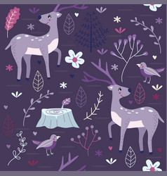 Seamless pattern purple forest with deer vector