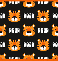 seamless pattern with cute cartoon tiger on black vector image