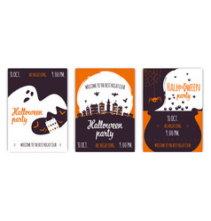 set abstract halloween party backgrounds 02 vector image