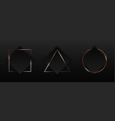 set black square with geometric border gold vector image