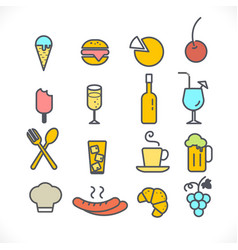 set line icons restaurant and food on white vector image