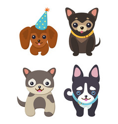 Set of color smiling dogs vector