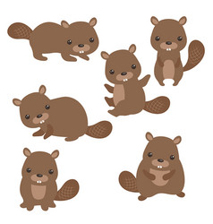 Set of cute beavers set of cute beavers vector