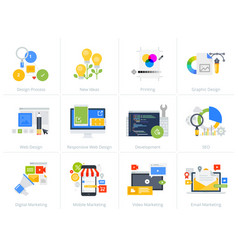 Set of flat design style concept icons on white vector
