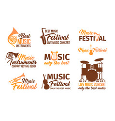 set of isolated music instruments audio and sound vector image