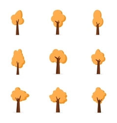 Set of tree various flat vector