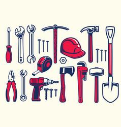 Set of worker hand tools vector