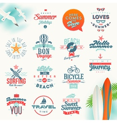 Set travel and summer vacation type design vector