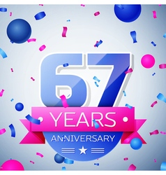 Sixty seven years anniversary celebration on grey vector