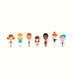 smiling kids character in flat design style vector image
