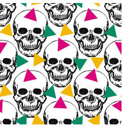 Stylized skulls pattern hand drawn swatch with vector
