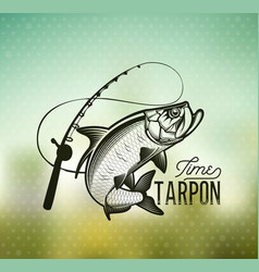 tarpon fishing emblem on blur background vector image