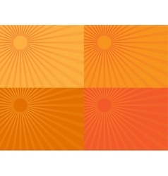 The orange rays of the sun Eps 10 vector image