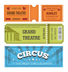 theater and circus tickets entertainment admission vector image