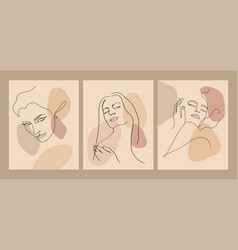 trendy outline woman portraits in pastel tones vector image