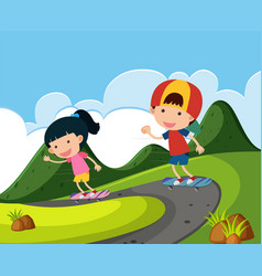 two kids playing skateboard in the park vector image