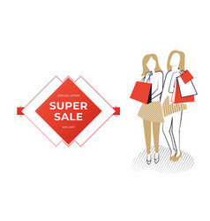 Two women holding bags vector