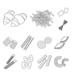 types of pasta outline icons in set collection for vector image